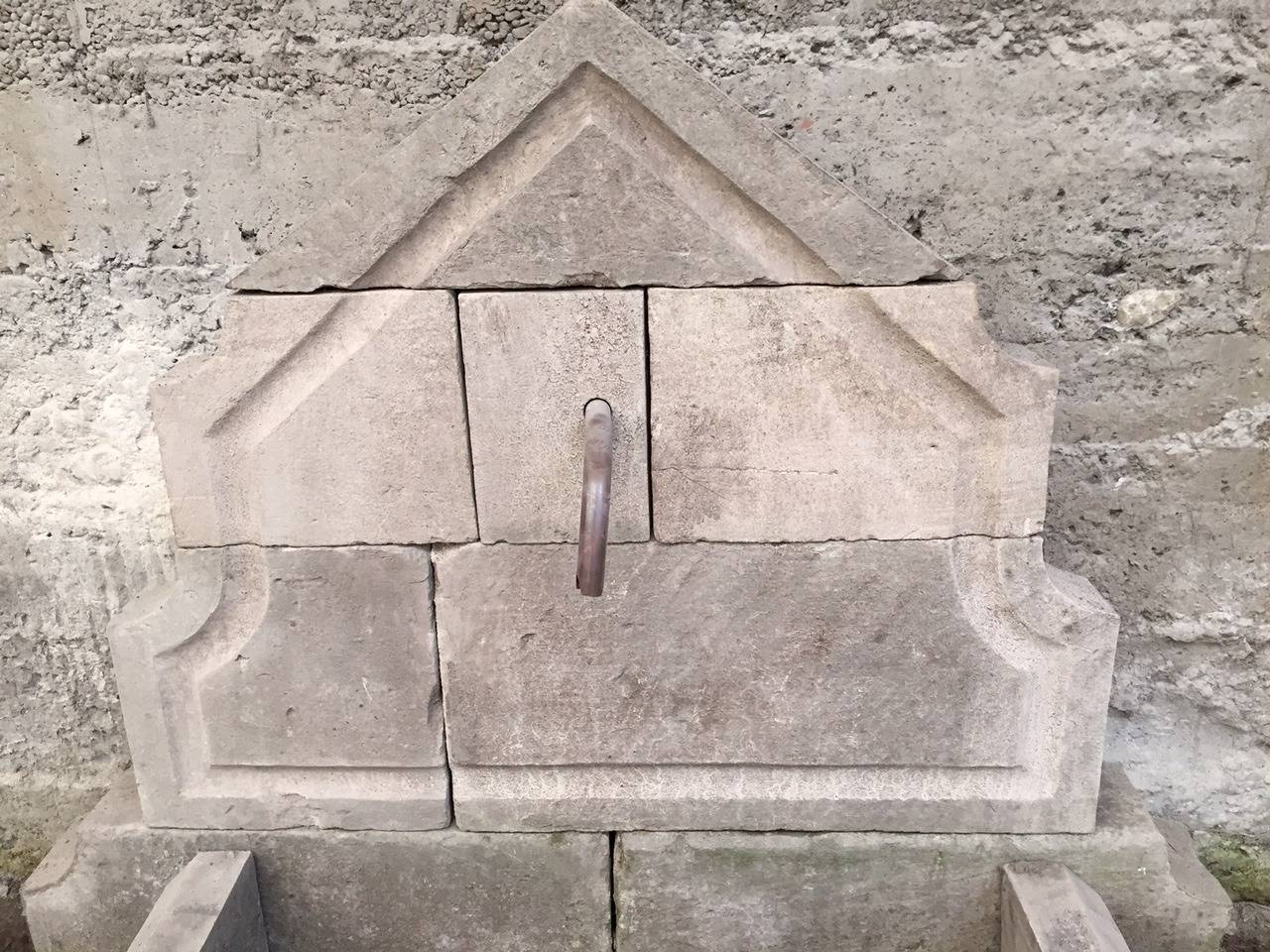 Louis XIV French Limestone Wall Fountain Handcrafted 20th Century, France For Sale