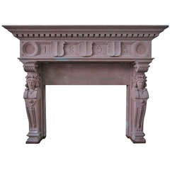 Embassy-quality fireplace Renaissance Caryatid statues dated 1895, France.'.