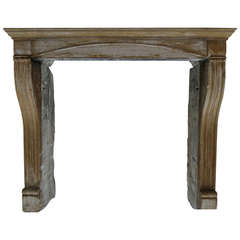French Antique Limestone Fireplace Handcrafted Circa 1850 France .'.