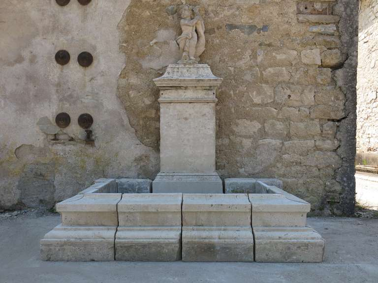 French Louis XIV Style Fountain in Limestone, France. For Sale