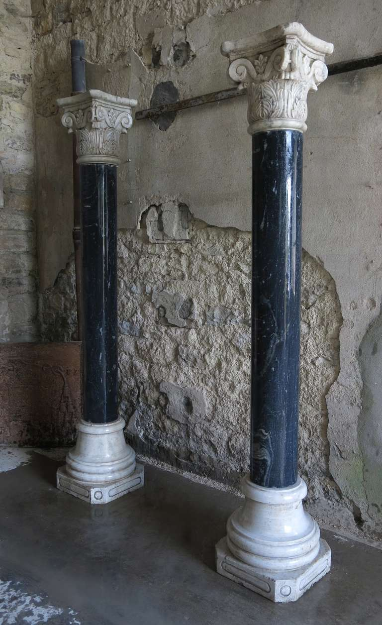 Corinthian Style Columns In Blue Stone And White Marble