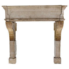 French Antique Louis XIII Style Fireplace in Limestone, France circa 1650s