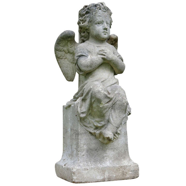 Angel statue called amour in limestone 19th century france for sale at 1stdibs - Angels figurines for sale ...