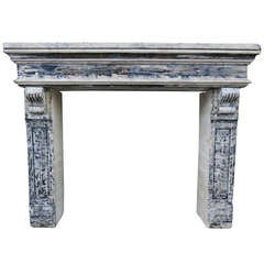 Louis XIII Style Fireplace in Limestone 19th Century from France