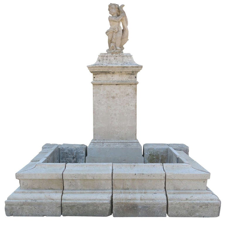 Louis XIV Style Fountain in Limestone, France.