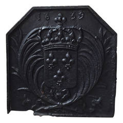 Original French Louis XIII Period Fireback Dated 1639, France