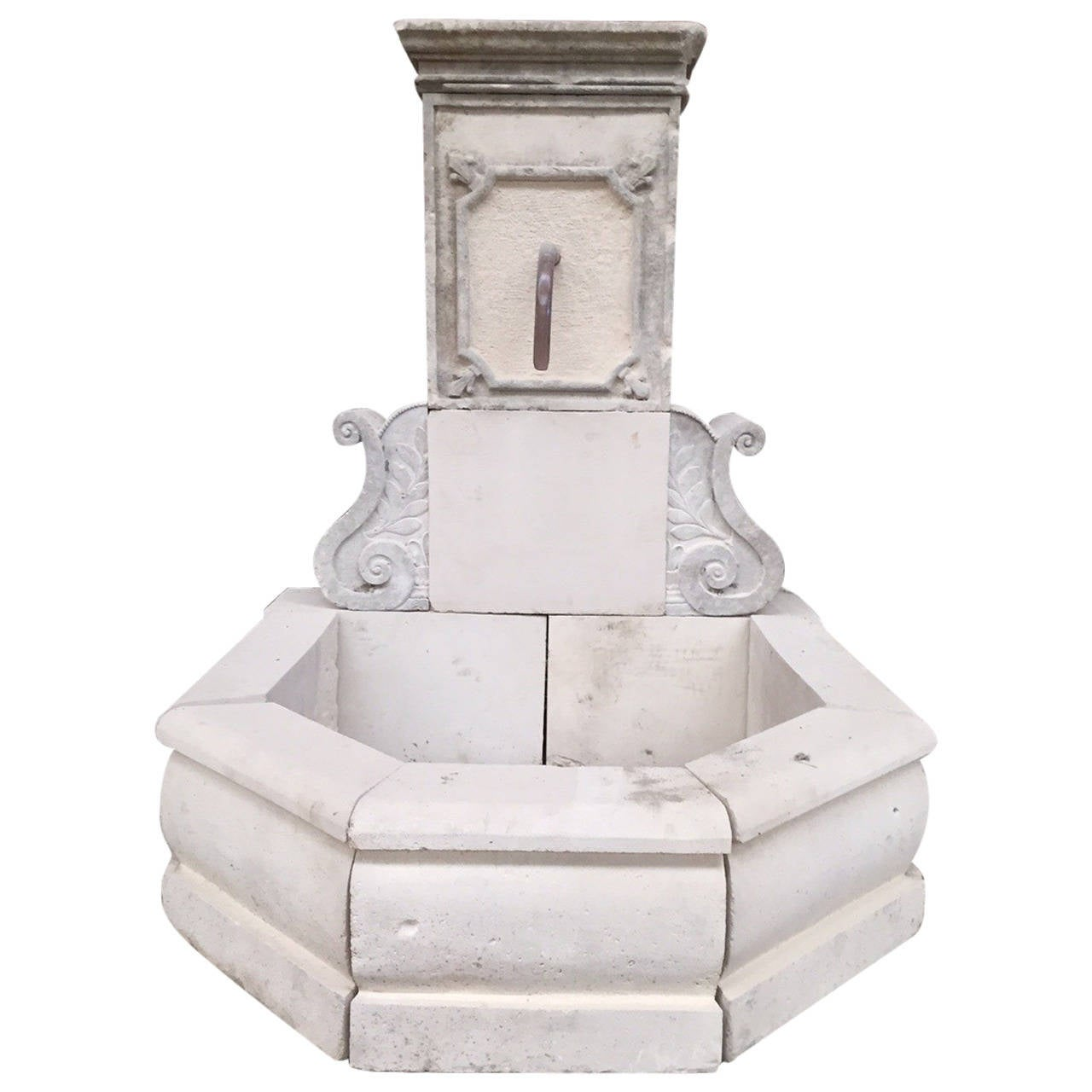 Riviera Coast Style Fountain in Limestone from France For Sale