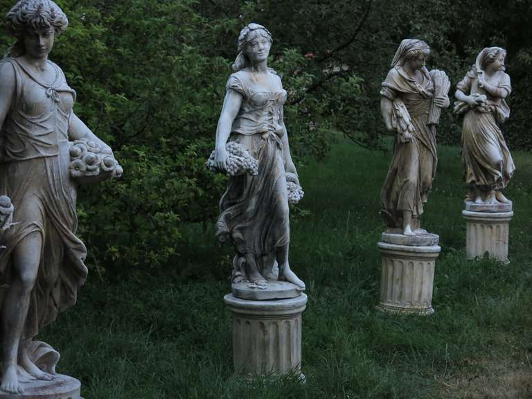 4 Seasons Statues (The Set) in Cast-Stone 20th Century - France 3