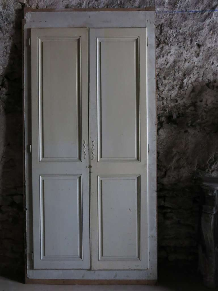 French high cupboard doors in wood circa 1850s paris for Wooden french doors for sale
