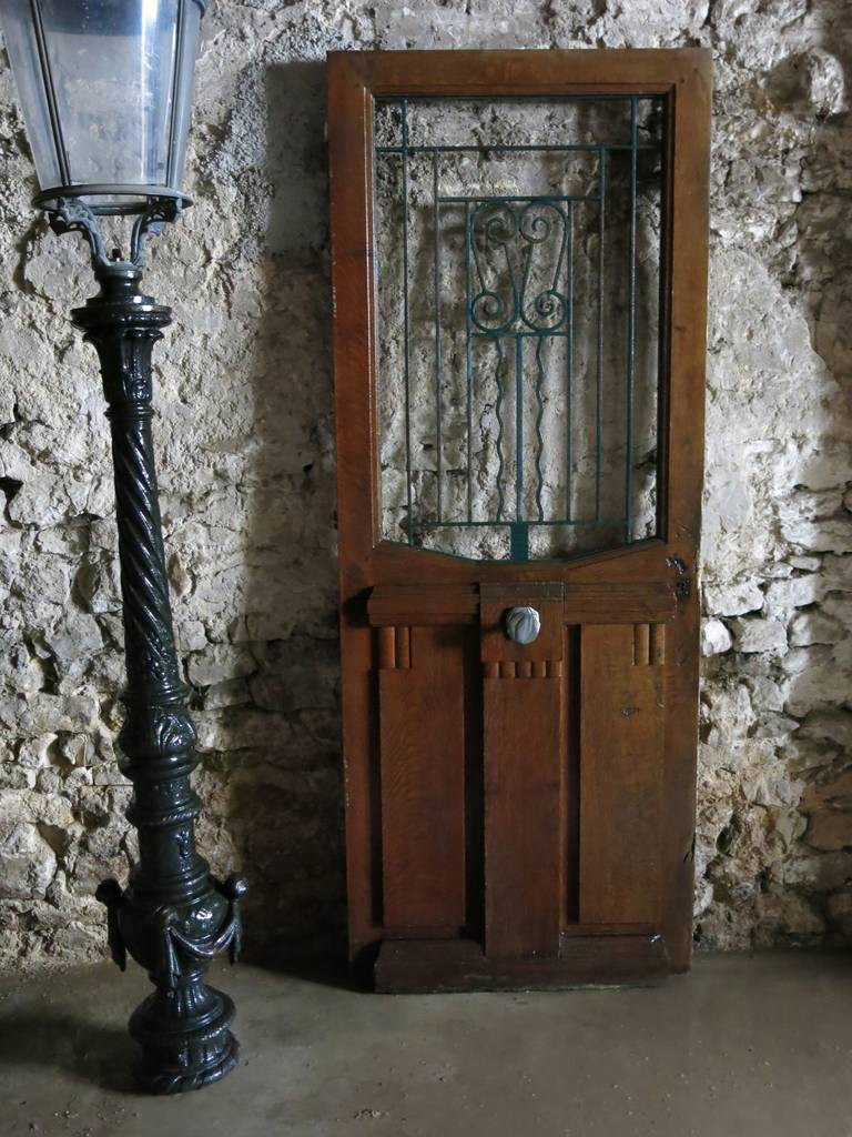 French Art Nouveau Style Front-Door In Wood & Iron Circa 1900s, Paris-France.'. 10