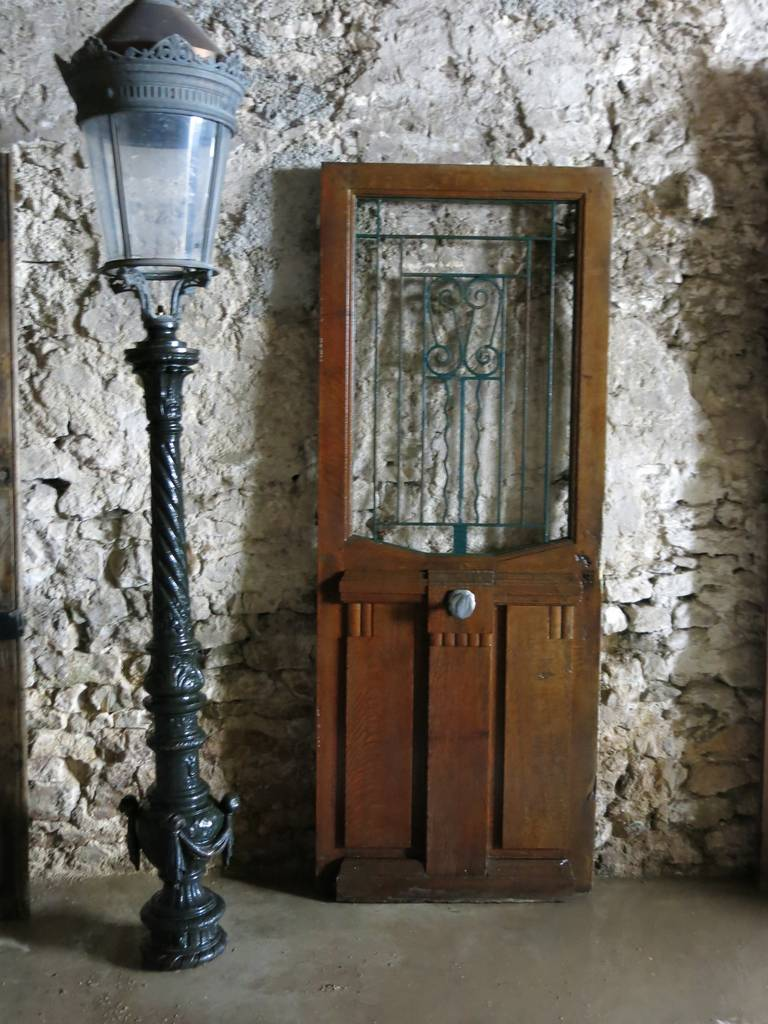 French Art Nouveau Style Front-Door In Wood & Iron Circa 1900s, Paris-France.'. 2