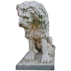 Lion Statue Renaissance Style (A. Canova Style) France Mid-20th Century