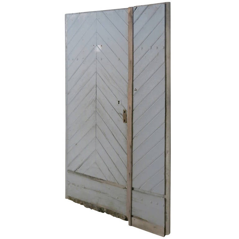 """French Countryside Farm Door In Wood """"Chevron"""" Style 18th C France.'."""