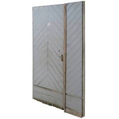 "French Countryside Farm Door In Wood ""Chevron"" Style 18th C France.'."