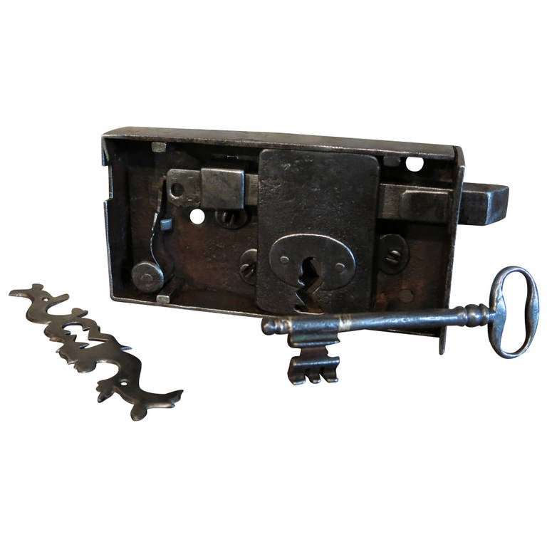 French ancient original door lock and key and back fitting for 18th key of the door