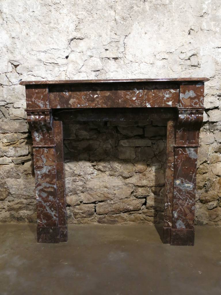 French Napoleon Iii Style Fireplace In Bordeaux Marble