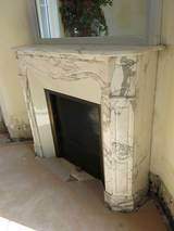 French Parisian Marble Fireplace With Trumeau Mirror Circa