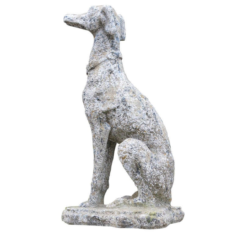 "Greyhound Dog ""Levrier"" in Stone 20th Century France"