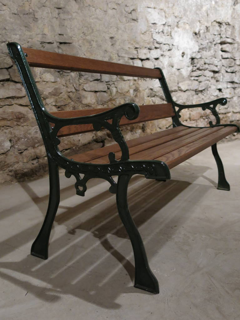 French Antique Bench In Iron And Wood From Paris France At 1stdibs
