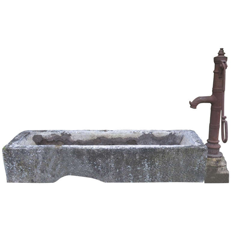 Village Water Pump in antique limestone from France 18/19th Century For Sale