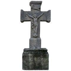 Jesus-Christ Cross in Limestone from France - Symbolic 18th Century.