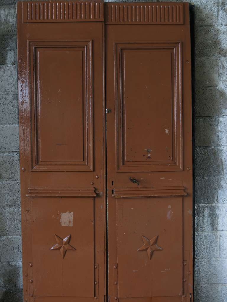 Directoire Original pair of wood doors from main entrance. From France, 19th century .'. For Sale