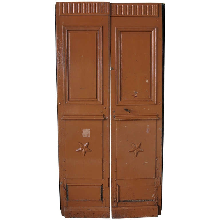Original pair of wood doors from main entrance. From France, 19th century .'. For Sale