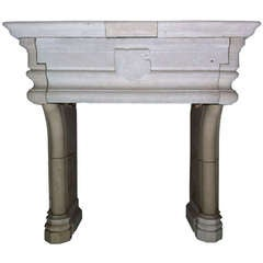 Gothic style fireplace in limestone from France, restaured in the 20thC .'.