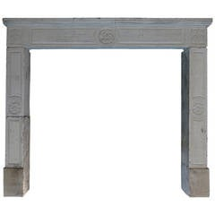 French Louis XVI Period Fireplace in Limestone from France, circa 1790s