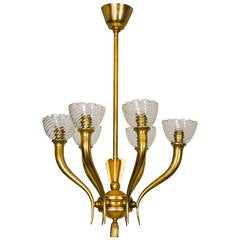 Gilt Bronze and Glass Chandelier, Italy, 1960