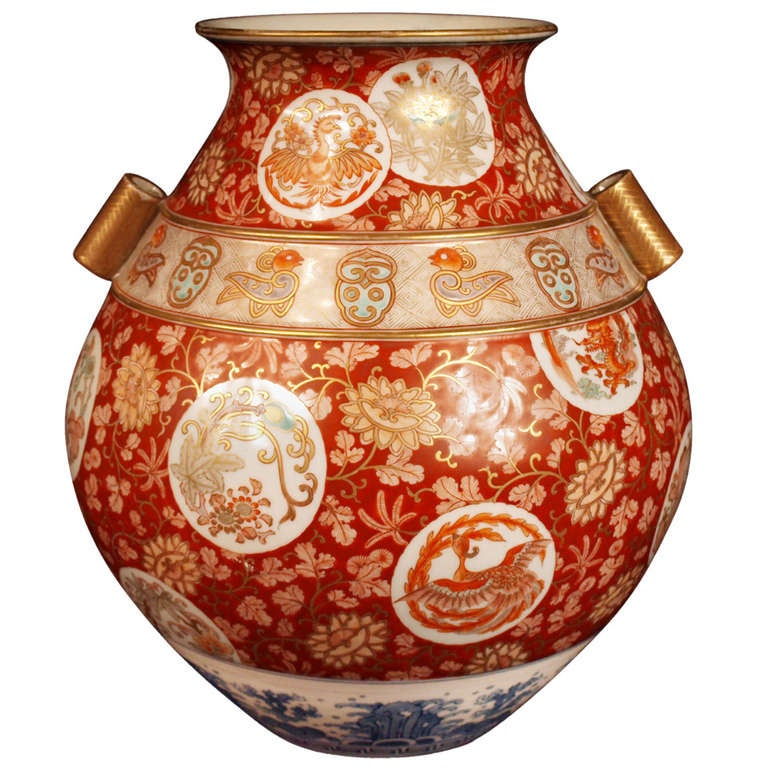 Japan Large Imari Kutani Vase Meiji Period At 1stdibs
