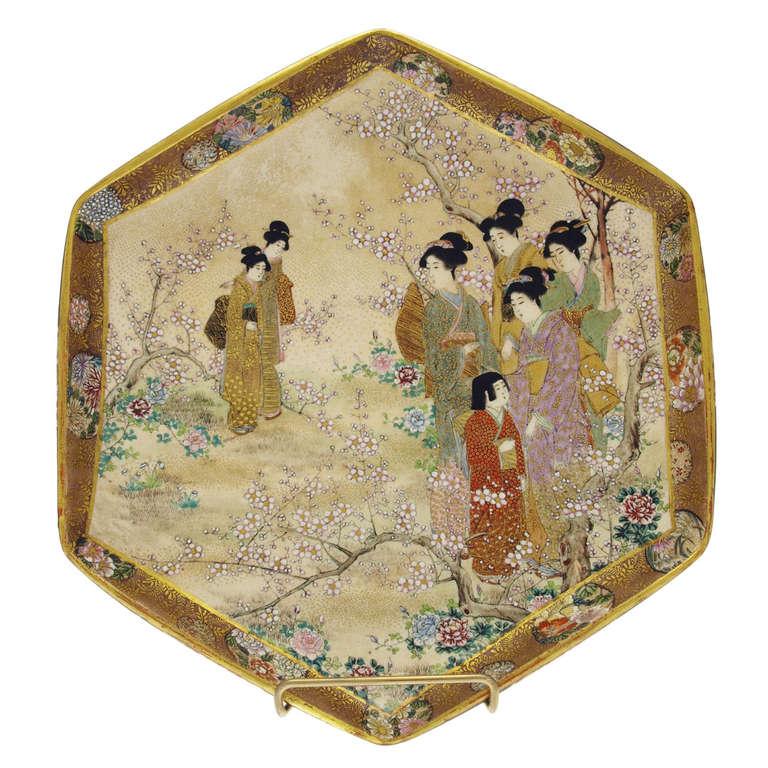 Satsuma Nice Meiji Period Flat Bowl At 1stdibs
