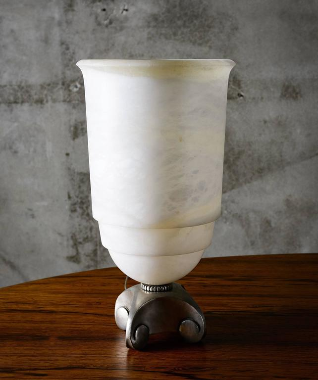 American Ruhlman Style Alabaster Hurricane Lamp with Silvered Bronze Base For Sale