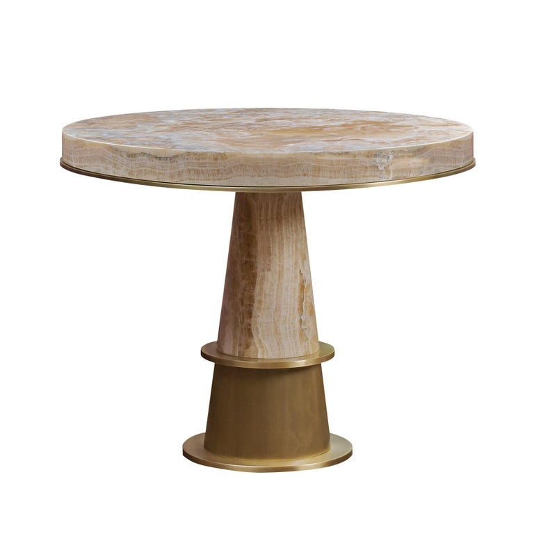For Sale: Gold (gold onyx.jpg) Promemoria Tornasole Table in Marble by Romeo Sozzi