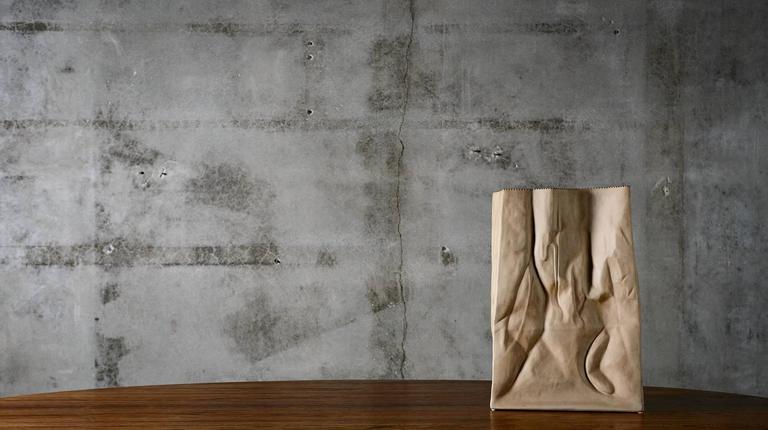 Mid-Century Modern Tapio Wirkkala Porcelain Monumental Paper Bag Vase, 1977 For Sale