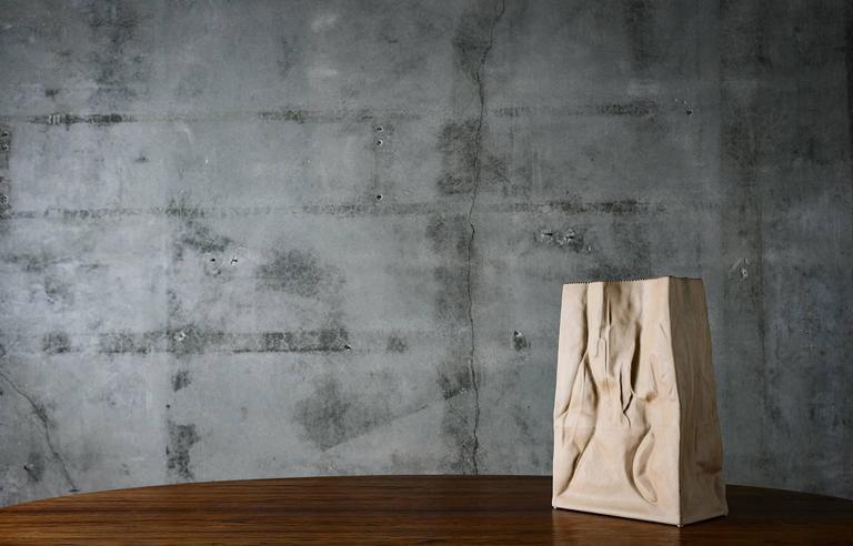 A monumental glazed porcelain paper bag vase by Tapio Wirkkala.