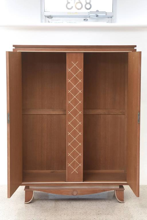Pierre Petit French Modern Limed Oak and Parchment Tall Cabinet, 1940s In Excellent Condition For Sale In Miami, FL