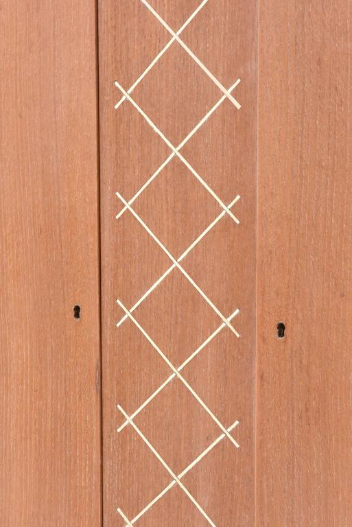 Pierre Petit French Modern Limed Oak and Parchment Tall Cabinet, 1940s For Sale 5