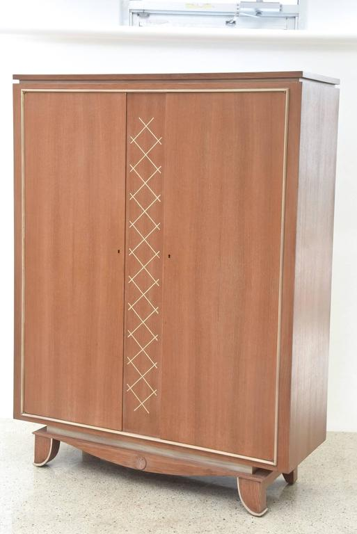Pierre Petit French Modern Limed Oak and Parchment Tall Cabinet, 1940s For Sale 2