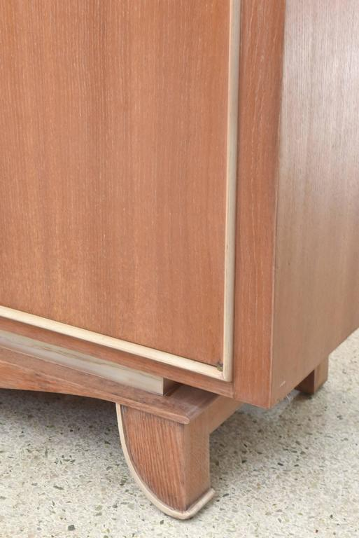 Pierre Petit French Modern Limed Oak and Parchment Tall Cabinet, 1940s For Sale 3