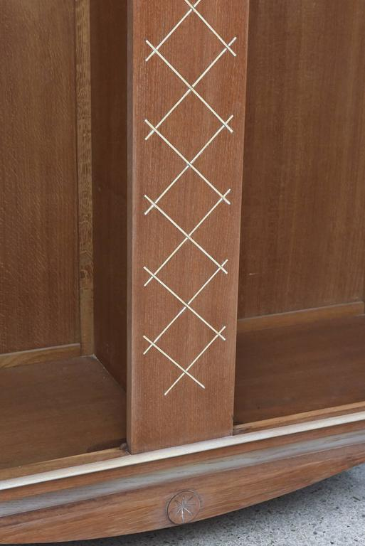 20th Century Pierre Petit French Modern Limed Oak and Parchment Tall Cabinet, 1940s For Sale