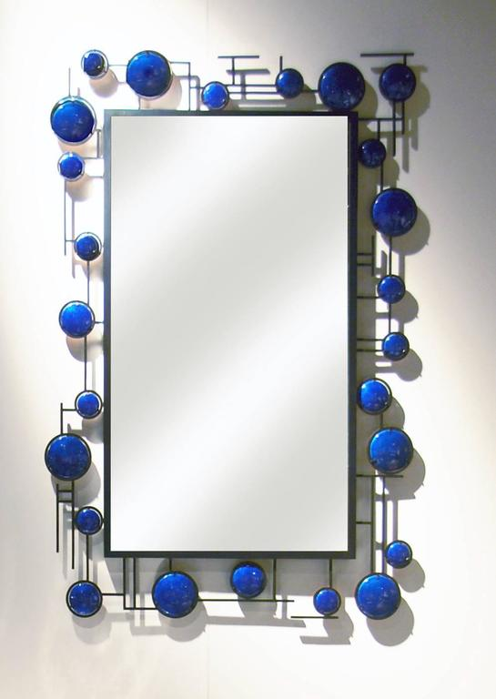 This Christophe Côme blue enamel mirror is made from copper and blue enamel in 2016. The piece can be installed horizontally or vertically and we can take custom mirror orders. 