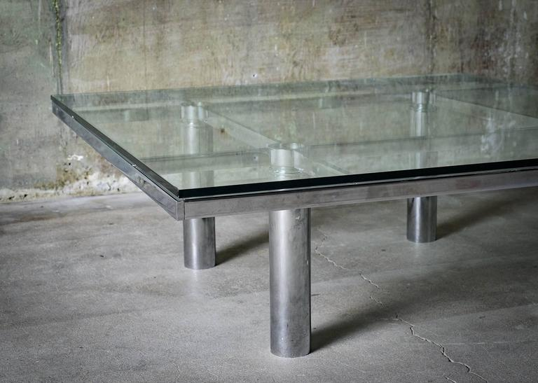 """Tobia Scarpa """"Andre"""" Coffee Table, Chrome-Plated Steel and Glass for Knoll, 1967 3"""