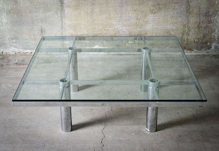 """Tobia Scarpa """"Andre"""" Coffee Table, Chrome-Plated Steel and Glass for Knoll, 1967 2"""