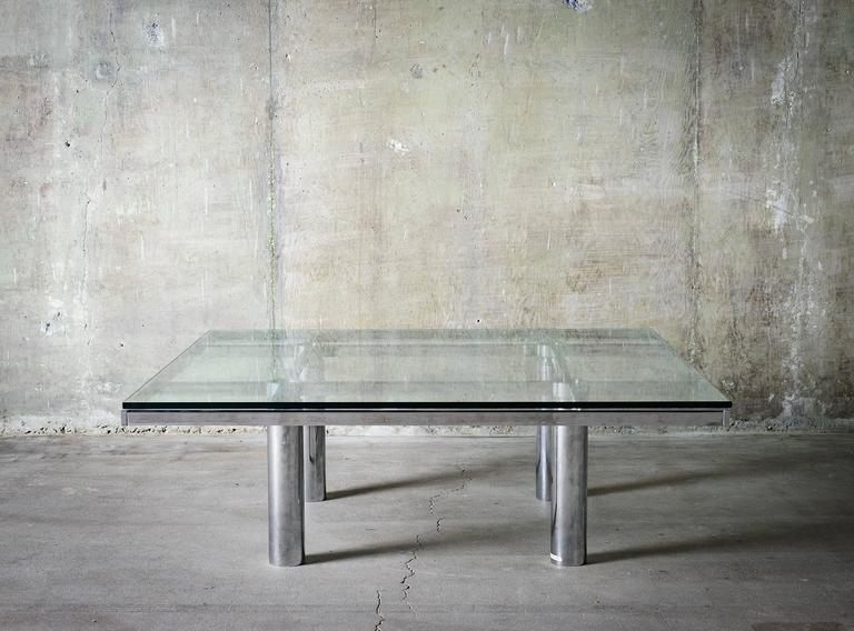 """Tobia Scarpa """"Andre"""" Coffee Table, Chrome-Plated Steel and Glass for Knoll, 1967 4"""