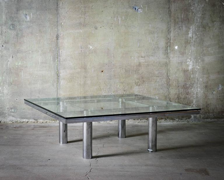 """Tobia Scarpa """"Andre"""" Coffee Table, Chrome-Plated Steel and Glass for Knoll, 1967 10"""