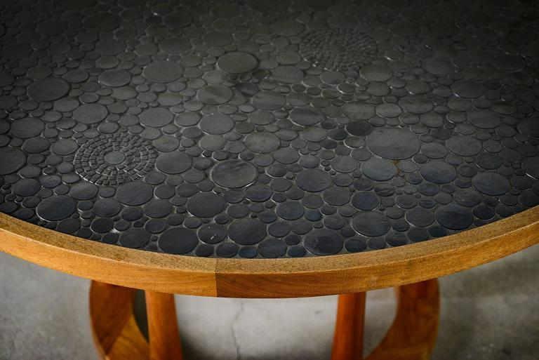 20th Century Marshall Studios Dining Table with Round Black Glazed Tiles and Walnut, 1960s For Sale