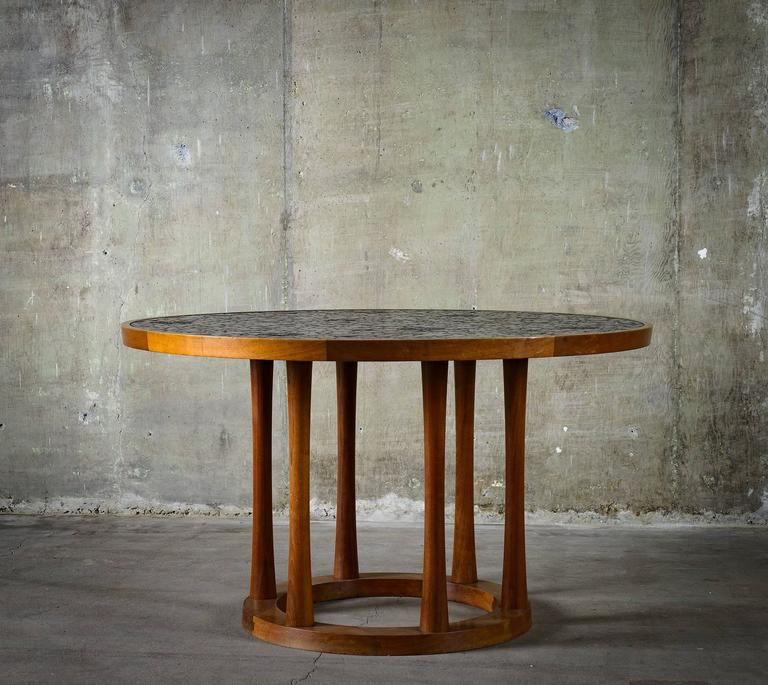 Modern Marshall Studios Dining Table with Round Black Glazed Tiles and Walnut, 1960s For Sale