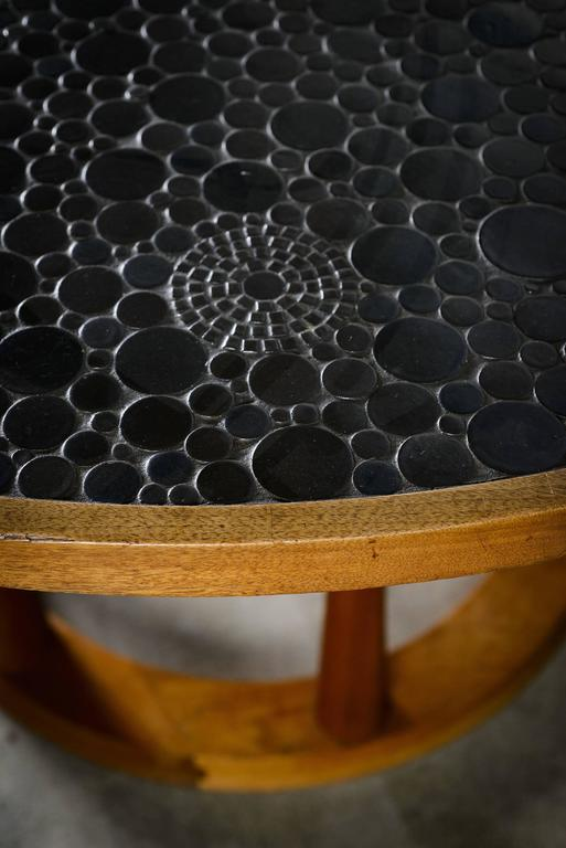 Ceramic Marshall Studios Dining Table with Round Black Glazed Tiles and Walnut, 1960s For Sale