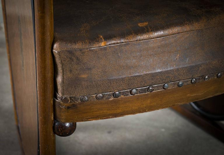 Kolomon Moser or Josef Hoffman Armchair Beechwood, Marquetry and Leather, 1907 For Sale 2